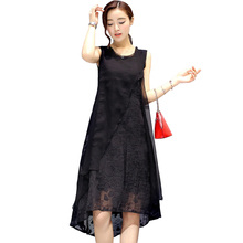 Plus size 5XL chiffon silk dress woman sleeveless vest tank a line dresses for women loose elegant irregular dress 2018 summer