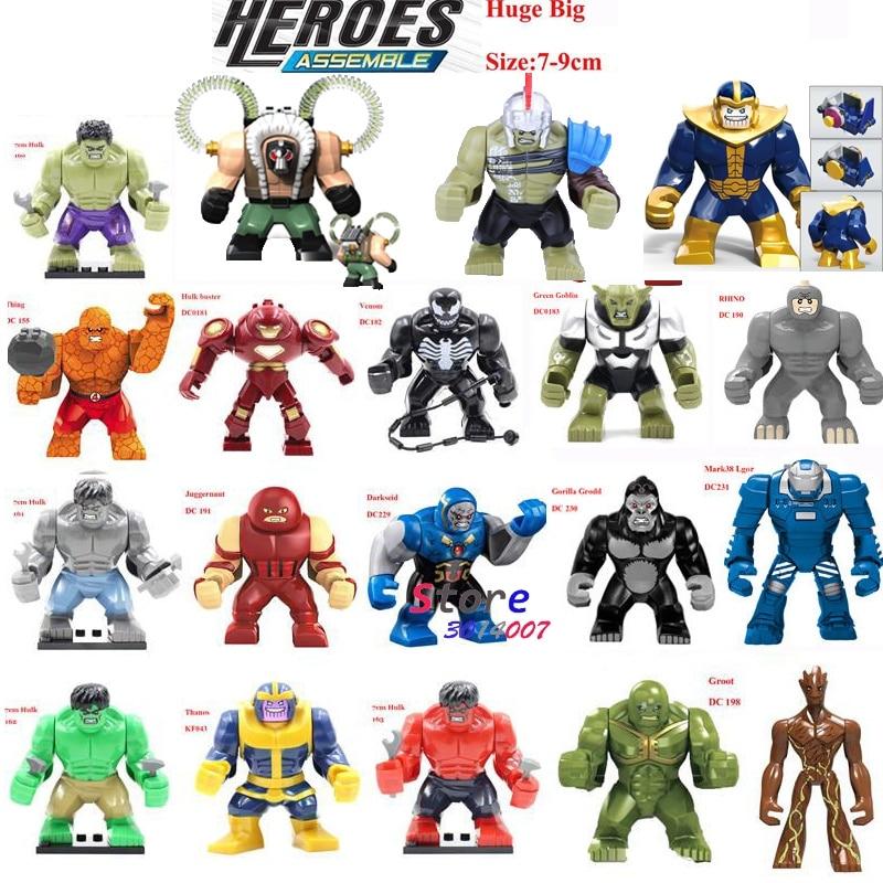 Single Sale Large Big Size Super Heroes Thanos Bane Hulk Venom Ironman  Ninja Dogshank Building Blocks Toys for children
