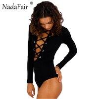 Nadafair Turtleneck Long Sleeve Lace Up Criss Cross Backless Sexy Women Bodysuits 2017 New Autumn Winter