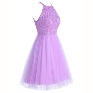 Image 3 - ANGELSBRIDEP Short Lilac Homecoming Dresses 2020 Mini Beading Homecoming Dress Open Back Short Graduation Dresses Party Gowns