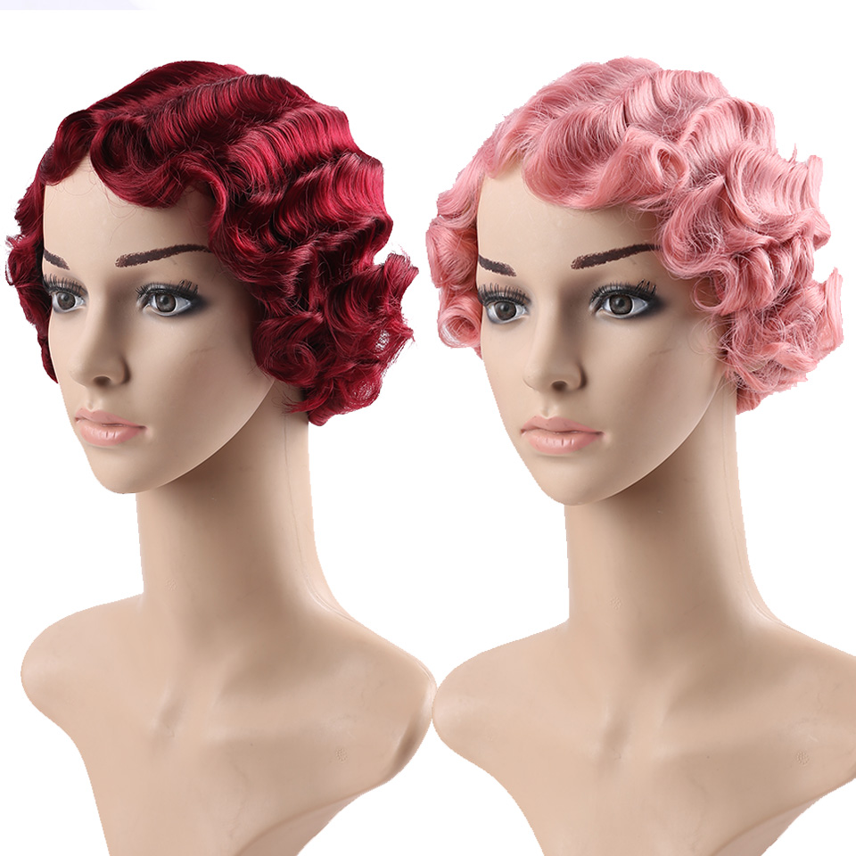 AOSI Synthetic Hair Short Curly Heat Resistant Finger Waves Wigs For African American Women Cosplay Wig in Synthetic None Lace Wigs from Hair Extensions Wigs