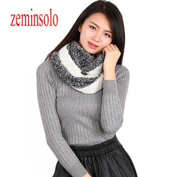 Knitted Scarf Ring Winter Warm Cashmere Scarves Ring Bandana Shawls Luxury Brand Solid Women Scarves Hijab Stoles Free Shipping цена 2017