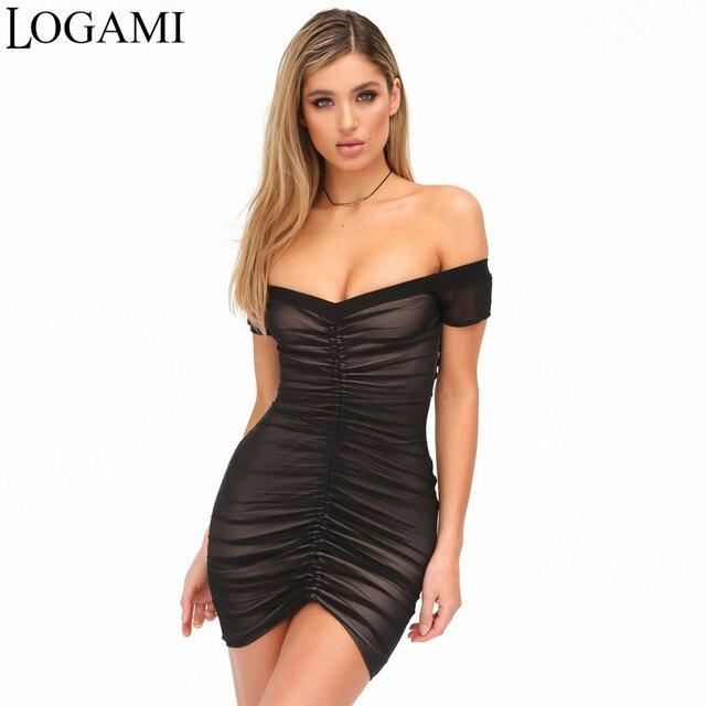 e4a5f43c276 LOGAMI Off Shoulder Dress Summer Sexy Party Club Wear Sheath Dress Bodycon  Mini Dresses Black White Robe Femme Ete 2017