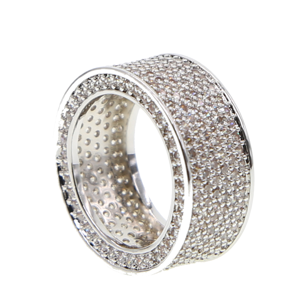 Top Quality Iced Out Bling Engagement Wide Cz Band Men