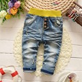 Moda Roupas de los bebés Vintage Washed Jeans Denim Casual pantalones largos embroman los pantalones S2803