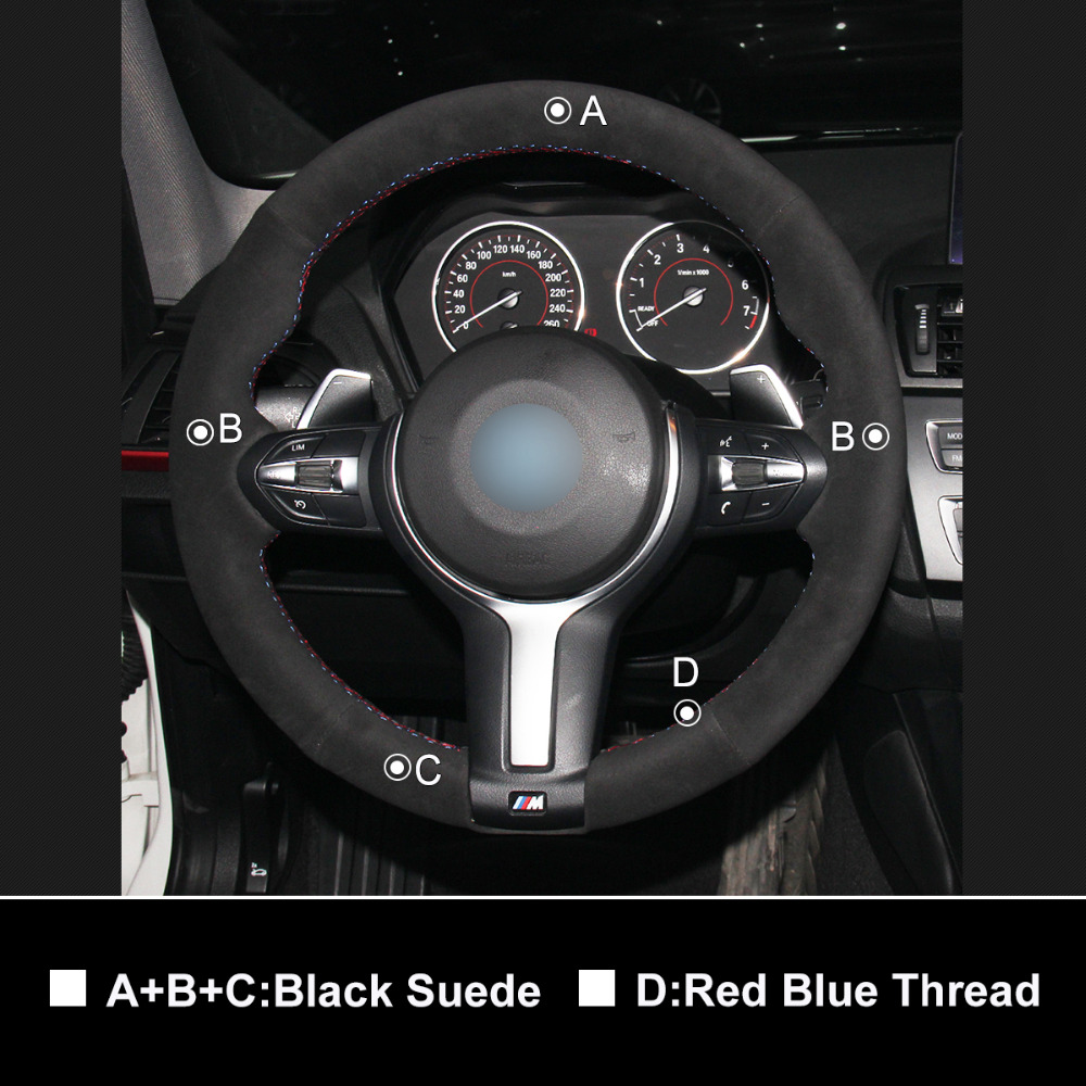 OLPAY Black suede Car Steering Wheel Cover for BMW F87 M2 F80 M3 F82 M4 M5 F12 F13 M6 F85 X5 M F86 X6 M F33 F30 M Sport in Steering Covers from Automobiles Motorcycles
