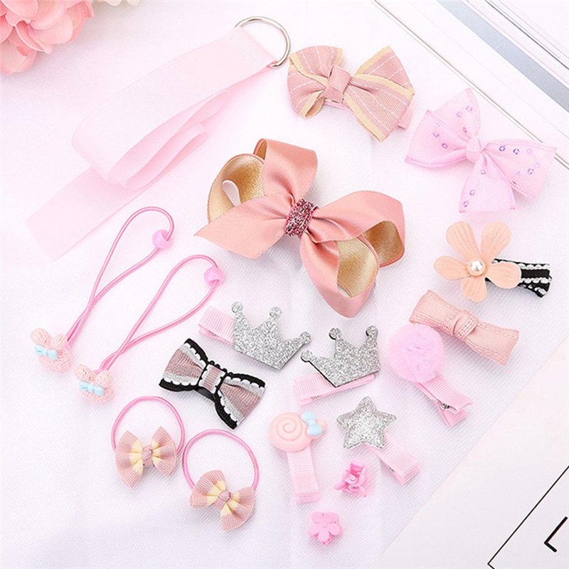 New 18 PCS/ Set Headdress Hairpin Hair Clips Barrette For Children Baby Girls Small Hair Claw Cute Candy Color flower Wholesale