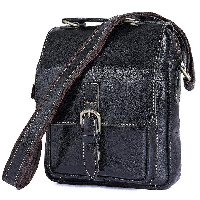 Brand Men Oil Waxing Genuine Leather Messenger Shoulder Bag 12.9 Inch Laptop Crossbody Bag Vintage Handmade Casual Handbag 1016A