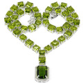 "Gorgeous Green Peridot, White CZ Created SheCrow Woman's Wedding   Silver Necklace 18.5"" 18x13mm"