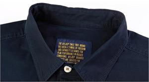 Image 5 - Erkek gömlek uzun kollu camisa sosyal askeri 100% pamuk gömlekler marka bahar sonbahar ordu turn down yaka 4xl gömlek giyim