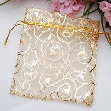"En gros 100 pièces/ensemble Organza sacs 9x11 cm Champagne Organza cordon pochettes cadeau bijoux emballage sacs de mariage 3.5 ""x 4.3"""