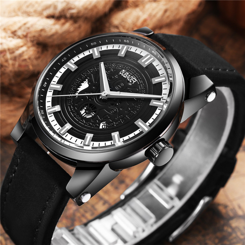 OUBAOER Mens Watches Top Brand Luxury Leather Strap Business Date Sport Military Army Male Clock Wrist Quartz Men Watch Hot 2017 new arrival hot mens military quartz army watch black date luxury sport luminous wrist watch 5 2
