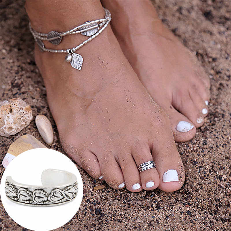 JETTINGBUY регулируемое отверстие палец кольцо Лот Anillos 1 шт. винтажное серебряное гравированное цветок сердце кольцо украшения для ног Boho Лето Пляж
