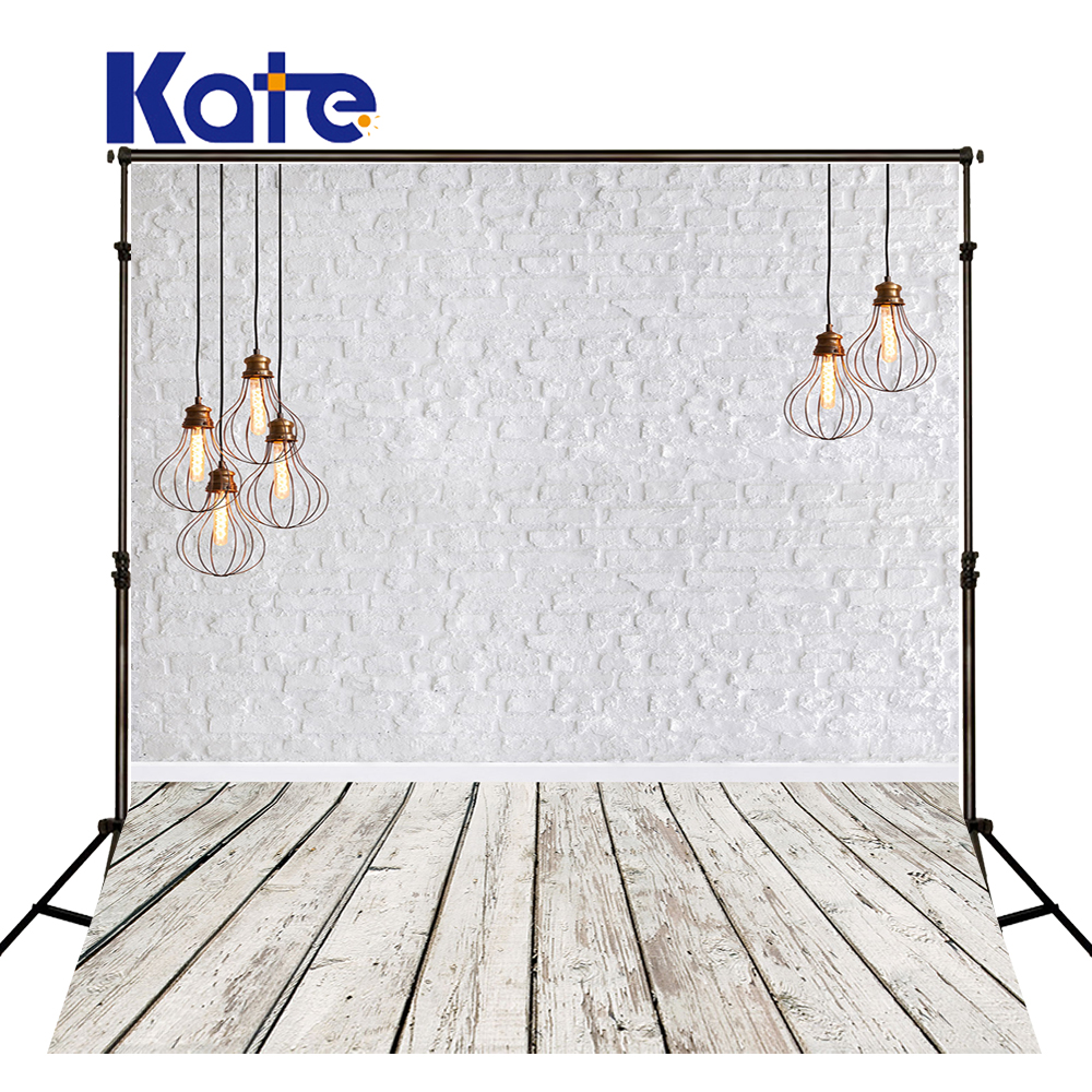 KATE 5x7ft Photo Backdrop White Brick Wall Backdrops Old Wooden Floor Background Vintage Chandelier Portrait Photo for Studio retro background brick wall photo studio props vinyl vintage photography backdrops wooden floor 7x5ft jieqx050