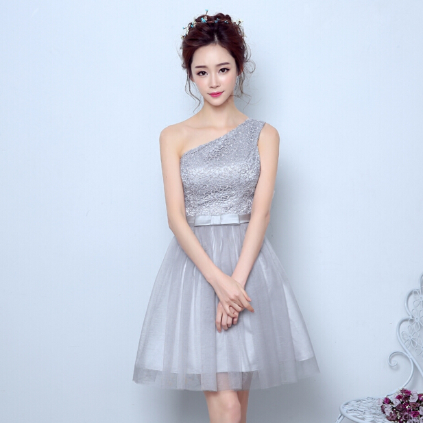35b0a40a69b 2017 short light gray modest puffy bridesmaid one shoulder girls formal  dress party dresses for teens ball gown S3594