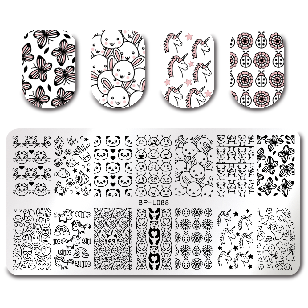 BORN PRETTY Nail Stamping Plates Flower Cartoon Aliens Elegant Lace Constellation Nail Art Afbeelding Platen Stamping Polish