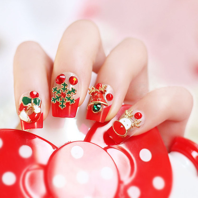 24pcsset Merry Christmas Cute Christmas Gifts Snowman Nail Acrylic
