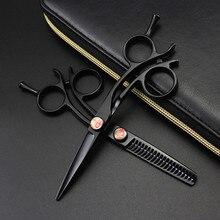 Profesional Japón 440 acero 5 pulgadas negro pequeño pelo Tijeras Peluquero corte de pelo adelgazamiento tijeras peluquería tijeras