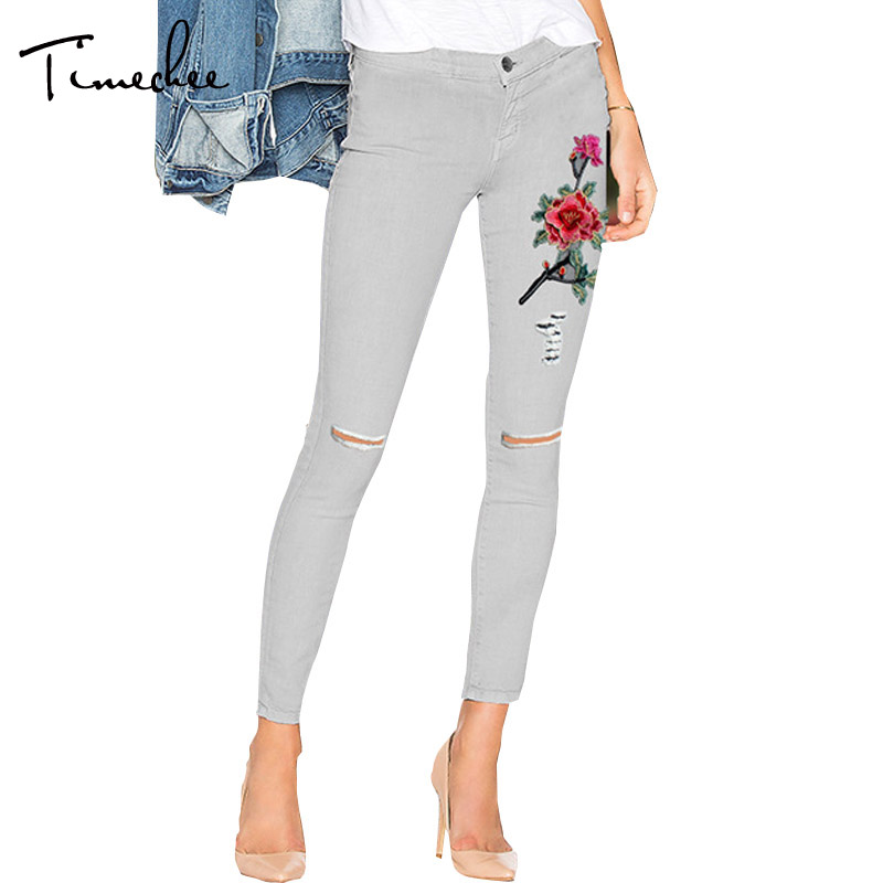 Jeans Women 2017 Timechee Fashion Embroidery Hole Ripped High Waist Ankle-Length Skinny Pencil Female Spring Pants LYY0216 new summer vintage women ripped hole jeans high waist floral embroidery loose fashion ankle length women denim jeans harem pants