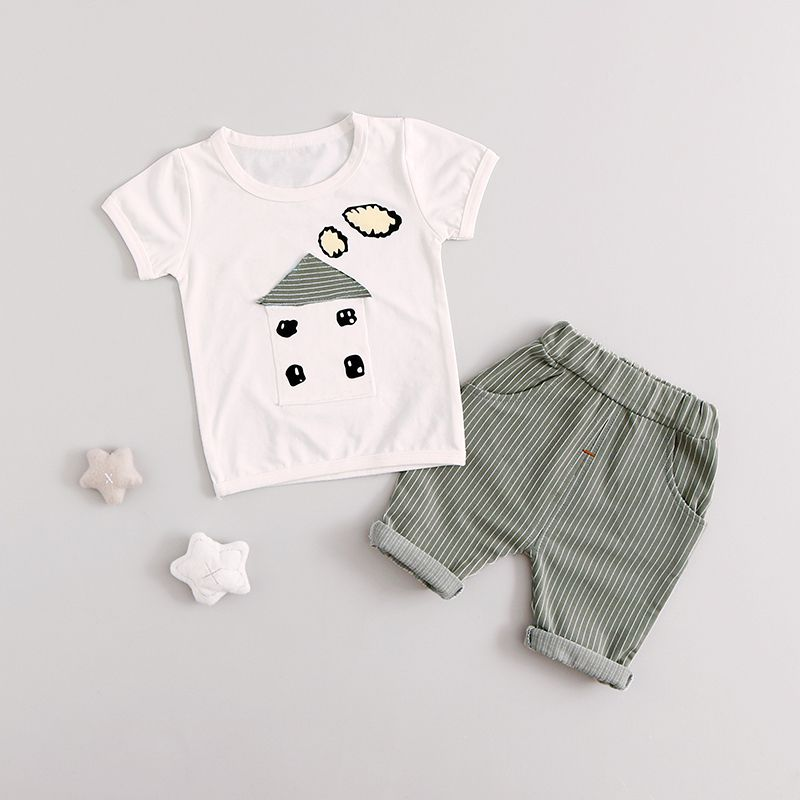2 PcsBaby Clothing Sets Summer Short Sleeve T-shirts Tops+Pants Kids Boys Outfits easy guide to sewing tops and t shirts skirts and pants