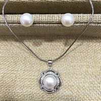 fine jewelry natural pearls pendant necklace and stud earring set white pink purple grey(gray) semi mount 925 sterling silver