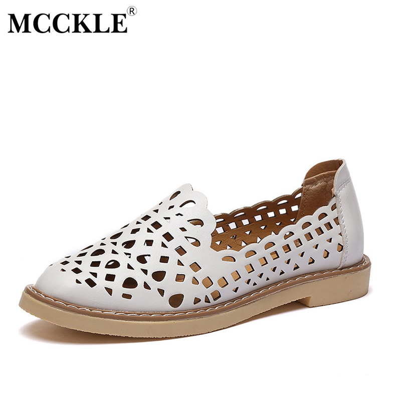 MCCKLE 2017 New Fashion Women Shoes Flat Woman Round Toe Platform Cut-Outs Casual Comfortable Black Summer Style Hot Sale mcckle 2017 fashion woman shoes flat women platform round toe lace up ladies office black casual comfortable spring