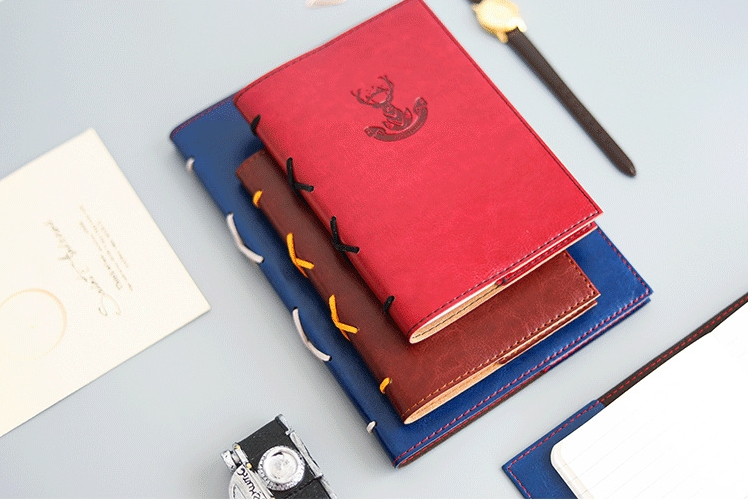 quot Forest Deer quot Faux Leather Traveler Notebook Replaceable Grid Papers Vintage Journal Diary Stationery Business Stationery Gift in Notebooks from Office amp School Supplies