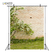Laeacco Flowers Brick Wall Grassland Yard Portrait Photography Backgrounds Customized Photographic Backdrops For Photo Studio