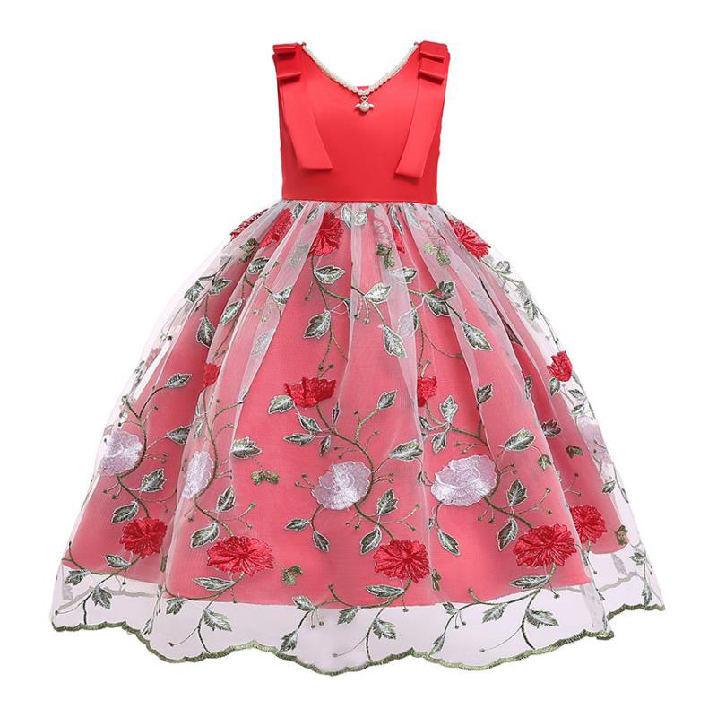 BOTEZAI fashion baby girl flower embroidered princess pettiskirt dress wedding kids party