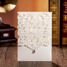 white printable & customized laser cut wedding invitations card free shipping CW5001