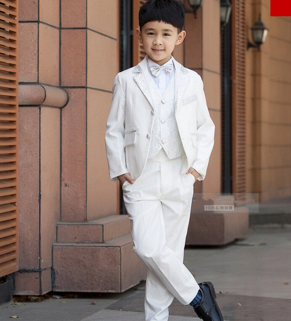 High Quality Children Wedding Blazer Clothing Set Costume Birthday Casual Formal Boy Suits For Wedding 5 PCS Set F1005