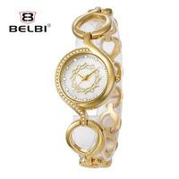 Belbi роскошный брендовые наручные часы цепь кольца женские модные женские повседневные кварцевые наручные часы с браслетом 2018 Новый женский