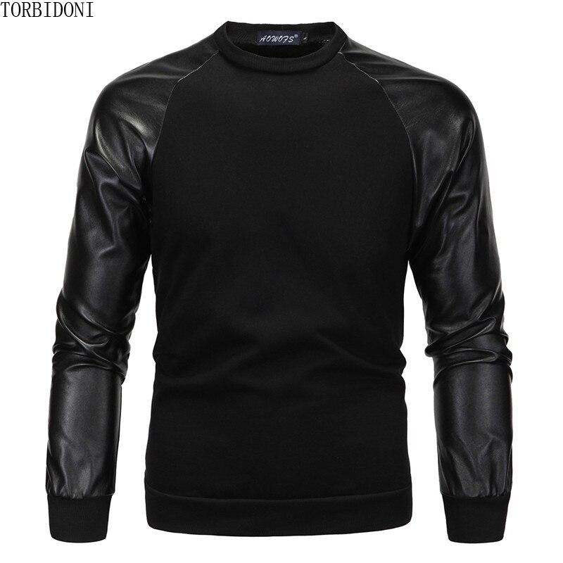 Men Hoodies Sweatshirts Autumn Fashion Hip Hop O-neck Men Patchwork PU Leather Jacket Long Sleeve Hoodies Coats Outwear Moletom