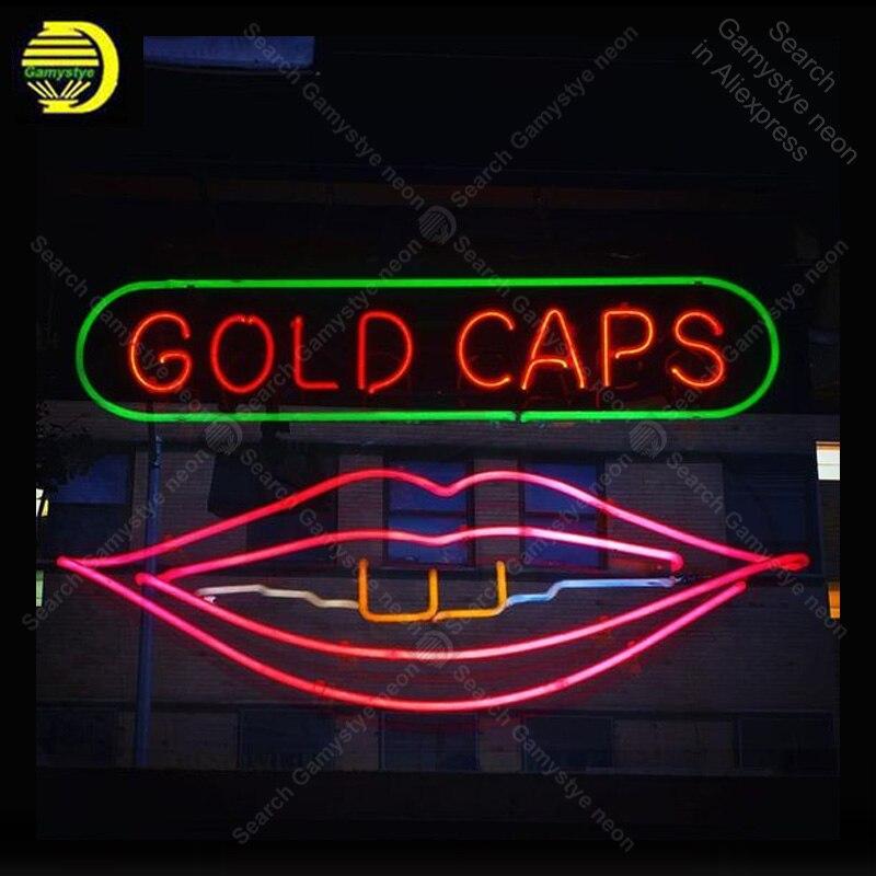 Enseigne au néon pour casquettes en or enseigne au néon signe de Pub de bière Tubes en verre réels affichage de magasin artisanal enseignes au néon Fil néon personnalisé au gaz