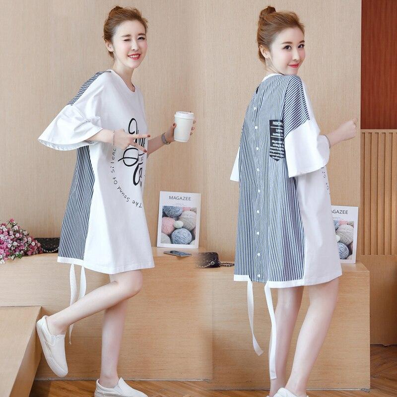한국어 드레스 여자 여름 큰 느슨한 Vestido 세련된 인쇄 짧은 소매 티셔츠 드레스 중순 롱 여성 스트라이프 드레스 여자