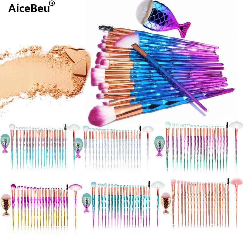 AiceBe 20 pcs Diamond Handvat make-up kwasten Make up Cosmetica Oogschaduw Poeder Borstel + 1 PC Mermaid Grote vis Foundation borstels