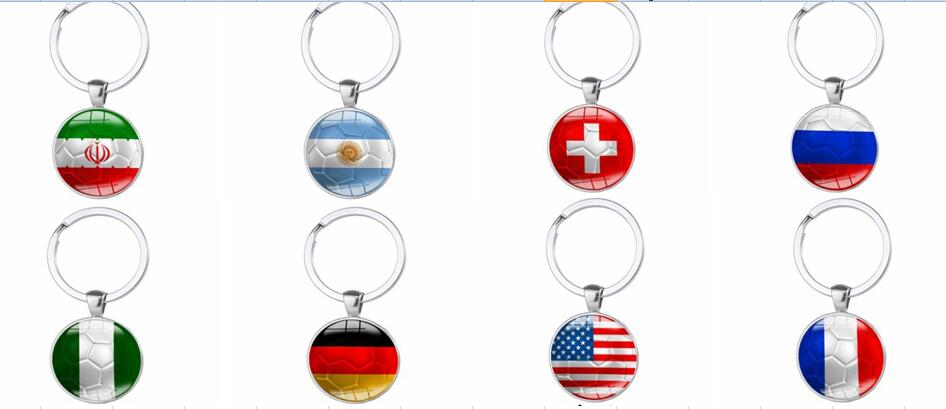 2018 SOBUY New World Cup Footballs Keychain Nationals Flag Football Time Stone Keychain befree gift