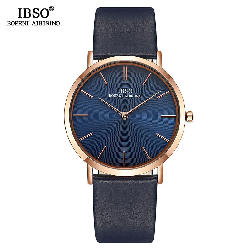 IBSO Top Brand Men's Wrist Watch Ultra-Thin Quartz Simple Black Causal Men Clock Watches Leather Strap Wristwatch