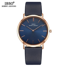 IBSO Top Brand Mens Wrist Watch Ultra-Thin Quartz Simple Black Causal Men Clock Watches Leather Strap Wristwatch