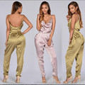 2016 Summer Style Women Romper Fashion Jumpsuit Casual Sexy Overalls Hot Deep V-Neck Backless Pink Women Clothing S-XL XD828