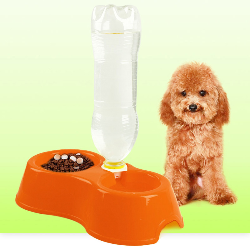 Lovely Pet Feeder Plastic Dual Port Automatic Feeder Water Drinking Feeding Basin Bowls For Cats Pet Dogs without Bottle DE1717