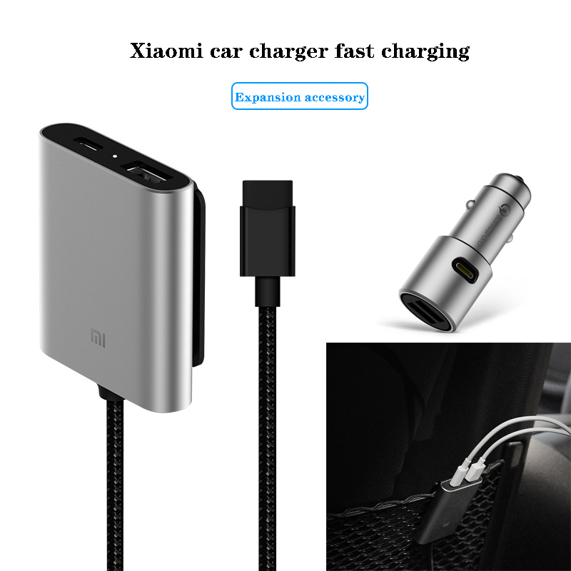Original Xiaomi Car Charger Extended Accessory Extension Cord Cable QC3.0 Dual USB Fast Charging 2 Ports