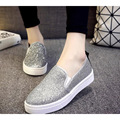 2017 women's new spring&summer pu bling single shoes casual slip on lazy flats platform loafer student breathable shoes big size
