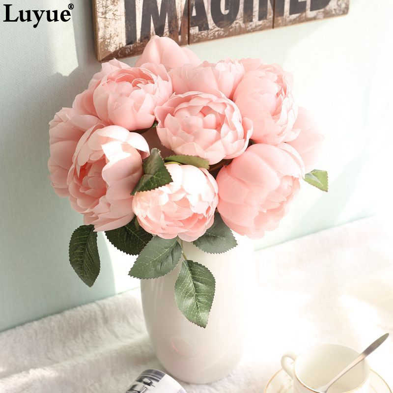 Luyue 1 bouquet Artificial Peony Flowers Wedding Bridal bouquet Rose Silk Fake Flower Heads Buds Garland Party & Home Decor