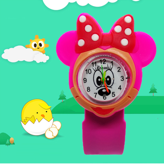Hello kitty Children watch for girls women Minnie Silicone Tape patted table stu
