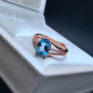 Image 2 - [MeiBaPJ]Classic Big Natural London Blue Topaz Gemstone Ring for Women Real 925 Sterling Silver Fine Jewelry