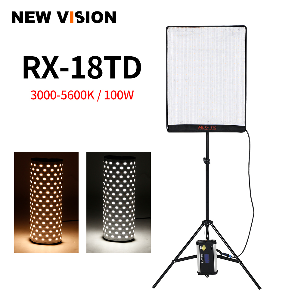 Falcon Eyes RX 18TD 100W 504pcs Flexible LED Video Light Rollable Cloth Lamp with LCD Touch