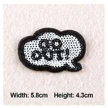 """1PC Patches For Clothing Glitter Beads Embroidery Text """" GO OUT!"""" Patches 5.8×4.3cm For Apparel Bags DIY Accessories"""