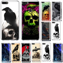 Crow On A Skull Phone Case Cover For Huawei Honor 6A 7A 7C 6C 7X Pro 8 8X 9 10 Lite Play(China)