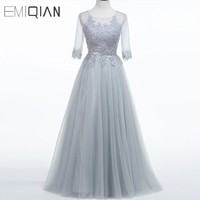 Evening Dress Long 2016 New Grey Lace Embroidery Half Sleeve Floor Length A Line Bride Married